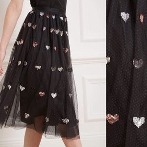 NWT Needle & thread tulle skirt with hearts